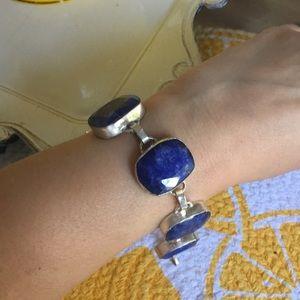 5 stone Lapis silver bracelet
